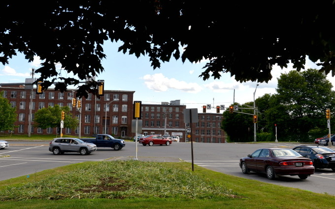 The city is considering options for improvements of the Water, Bridge and Main streets intersection, which is seen Wednesday in downtown Waterville.