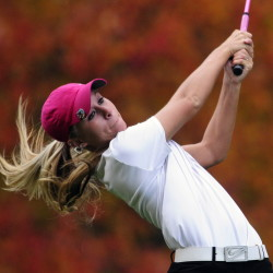 Lawrence's Kelsey Dessent tees off at the 18th hole of the Arrowhead course at Natanis during the girls state championship last year. Dessent will be among the contenders during the Maine Women's Amateur next week.