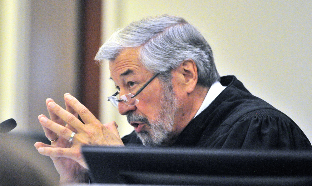 Justice Donald Marden speaks during Eric Bard's sentencing hearing on Friday in the Capital Judicial Center in Augusta.