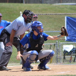 Contributed photo/Wendy Bonsant   Augusta 15U catcher Noah Bonsant catches a pitch during a Babe Ruth New England regional game against Pittsfield, Mass., on Friday afternoon at Trumbull High School in Connecticut. Augusta fell 9-0.