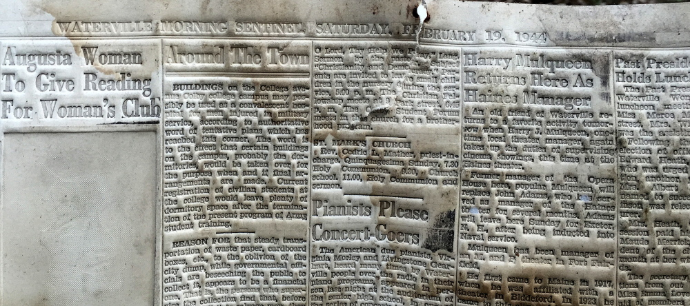A Morning Sentinel printing mat from 1944 was used as a layer of flooring in Bob and Linda Webster's Rockwood Lane camp in Smithfield on Wednesday.