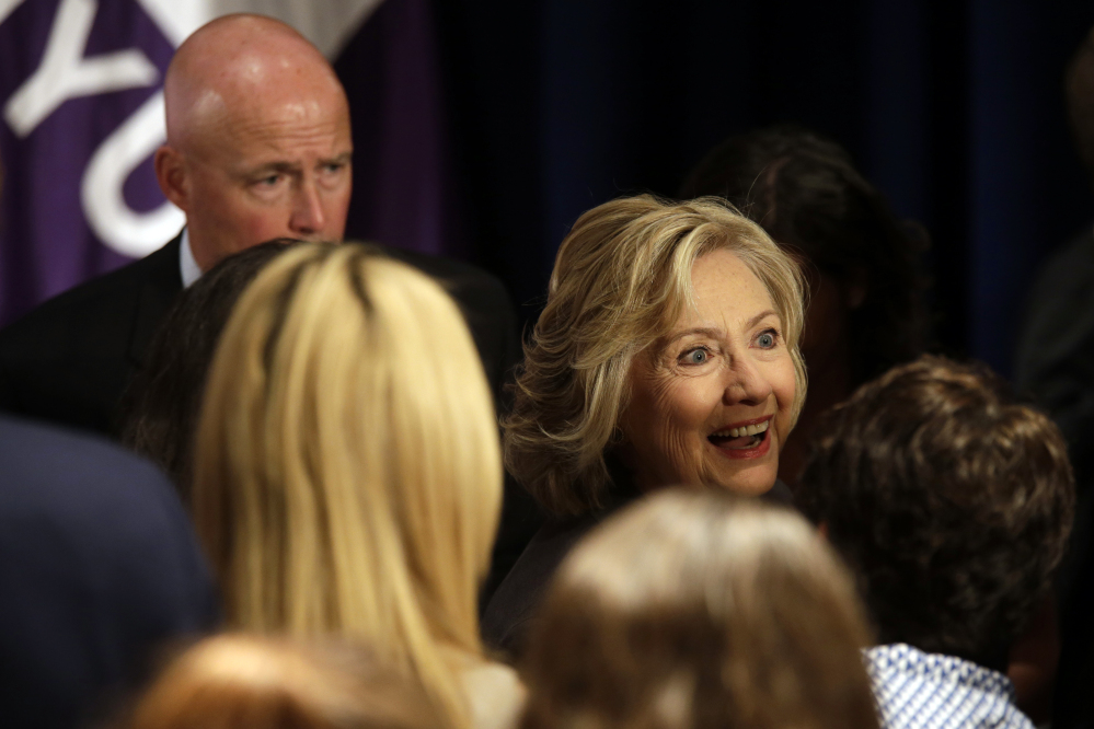 Democratic presidential hopeful Hillary Rodham Clinton greets supporters after delivering a speech, Friday at the New York University Leonard N. Stern School of Business in New York.