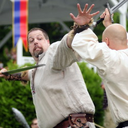 Re-enactors Jesse Bolin, left, and Andrew Jefferson perform as The Corr Thieves during Richmond Days events on Saturday at Richmond's water front.