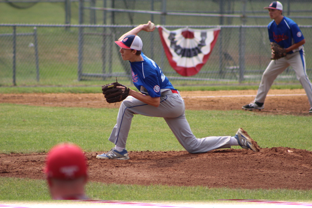 Augusta 15U Babe Ruth pitcher Noah Bonsant delivers a pitch during a Babe Ruth New England Regional game against Cranston, R.I., Sunday morning in Trumbull, Conn. Bonsant turned in a strong outing as Augusta prevailed 2-1.