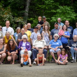 The 58th reunion of the descendants of John and Florrie Blackburn Hargreaves was hosted by Richard and Glenda Hargreaves and their family Sunday, July 5, at their Porter Lake home in New Vineyard. The photo includes several grandchildren of John and Florrie who attended the first reunion in 1958. They are accompanied by descendants of John and Florrie's five children spanning several generations. The elder Hargreaves' emigrated from England to Canada in the early 1900s, later making a move to North Anson, Maine. A day of socializing, activities on the water and a potluck lunch was enjoyed by the families. Attendees came from several Maine towns, including one from Virginia.