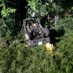 A Jeep overturned early Sunday morning on Interstate 95 in Sidney, injuring four people.