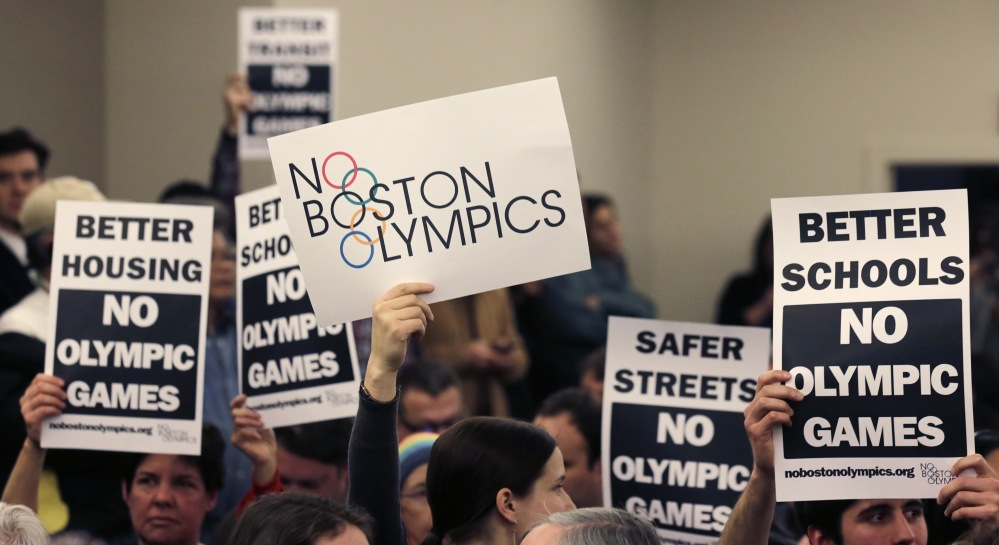 "Boston mayor Marty Walsh delivered a harsh blow to the city's effort to host the 2024 Olympics on Monday when he declared he wouldn't sign any document ""that puts one dollar of taxpayer money on the line for one penny of overruns on the Olympics.""  That document is the host city contract that most in the Olympics consider crucial to any city's success."