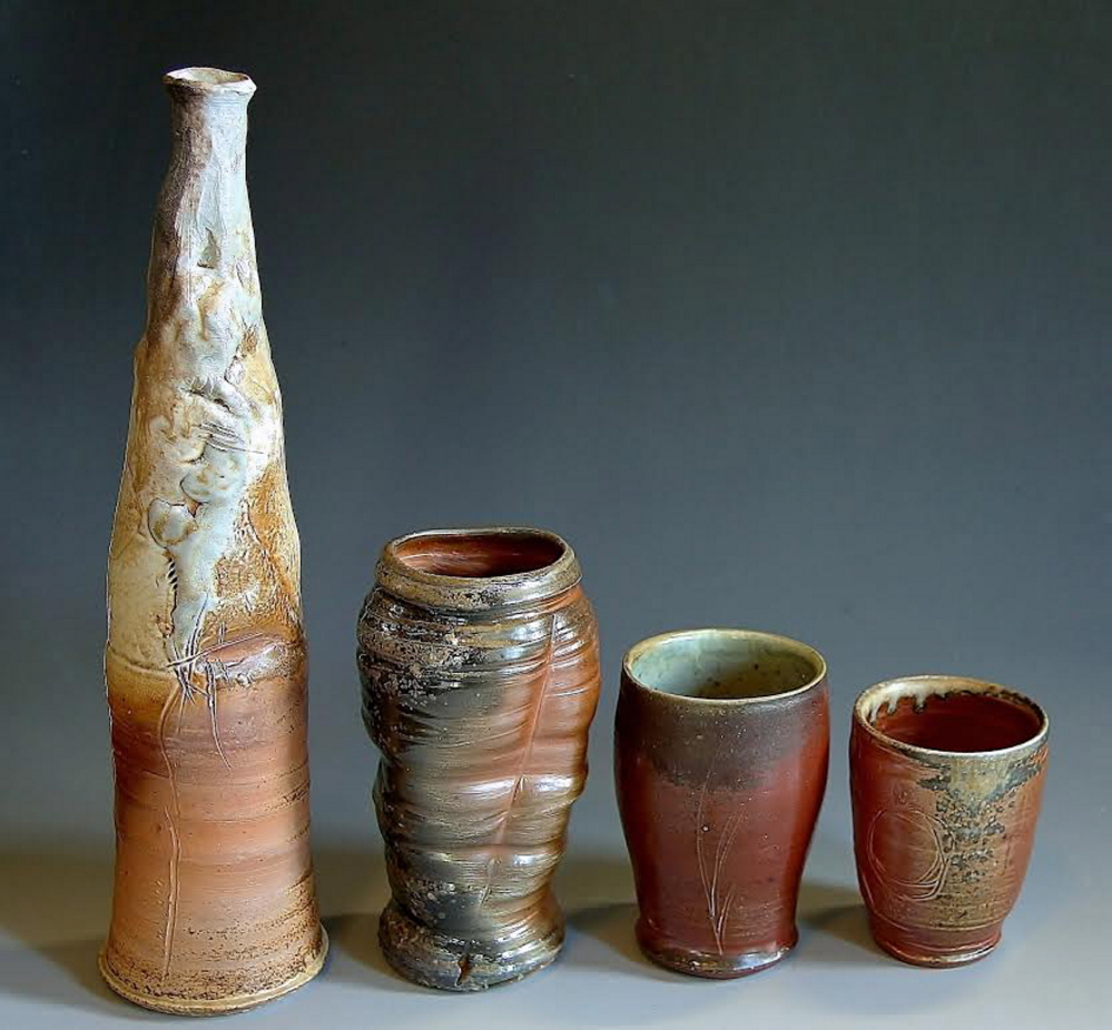 Anagama Bottle, Vase, Tumbler and Cup by Cory Upton-Cosulich.