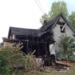 An unoccupied house at 334 Madawaska Avenue in Pittsfield was destroyed in a fire Tuesday morning.