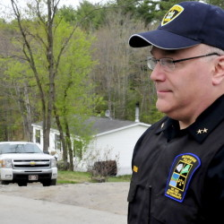 Skowhegan Police Chief Ted Blais speaks on North School Street in May 2014.