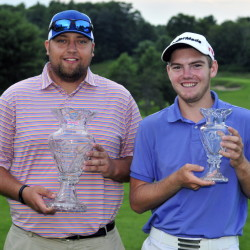 Matthew Campbell,left, won the professional division and Sam Grindle was first amateur at the end of the second day of the Charlie's Maine Open on Tuesday at the Augusta Country Club in Manchester.