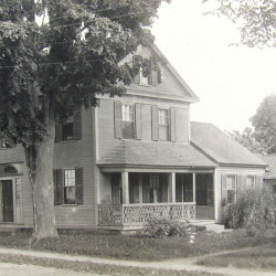 """Nearly every building at Readfield Corner was destroyed in the great fire of Readfield Corner on June 11, 1921. The John Williams house pictured here was on Church Street and was the only residence lost. The Williams house lot has remained vacant ever since, but the rest of """"the Corner"""" was rebuilt almost immediately."""