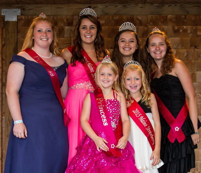 Contributed photos The Strawberry Pageant Coronation was held July 26 at the Pittston Fair. In front, from left, is Strawberry Blossom runner up Anna Reay, of Readfield, and 2015 Maine Strawberry Blossom is Brynnlea Chaisson, of Pittston. In back, from left, is Strawberry Queen runner up Alexis Bonenfant, of Vassalboro; 2015 Maine Strawberry Queen Hunter Norris, of West Gardiner; 2015 Maine Strawberry Princess Shelby Skipper, of Pittston; and Strawberry Princess runner up Kyla Driscoll. of Pittston. Nineteen contestants participated in the three categories. Blossoms are 5-7 year olds, Princess' are 10-13 year olds and Queens are 16-20. The trio will make appearances at many different agricultural fairs and events this year. Those interested in next years pageant can call Liz Chaisson at 446-1262.