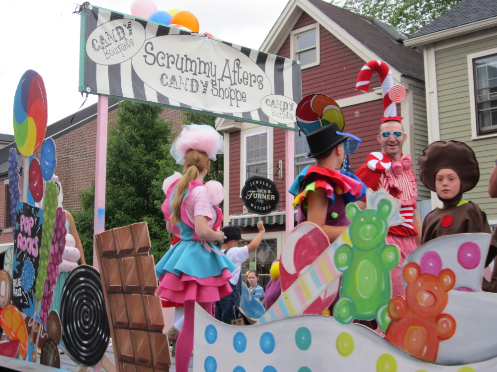The crew from Scrummy Afters Candy Shoppe won first place for the Most Original Old Hallowell Day parade entry.