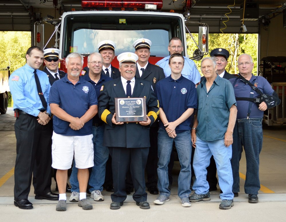 """The Manchester fire department shows off it's Safety and Health Award for Public Employees. The award is give to """"exemplary public sector employees after a thorough review and inspection of the employer's safety and health policies and procedures,"""" according to a news release from the state Department of Labor. """"A well-rounded safety and health program achieves lower employee injuries and illnesses and provides for better employee morale and retention,"""" the release said."""