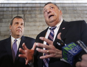 Maine Gov. Paul LePage accompanies New Jersey Gov. Chris Christie, a recently declared presidential candidate, during a visit to Becky's Diner in Portland on Wednesday.