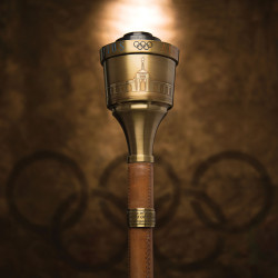 In this undated photo provided by Heritage Auctions, the 1984 Summer Olympics Torch that Bruce Jenner carried through Lake Tahoe, Nevada is shown.