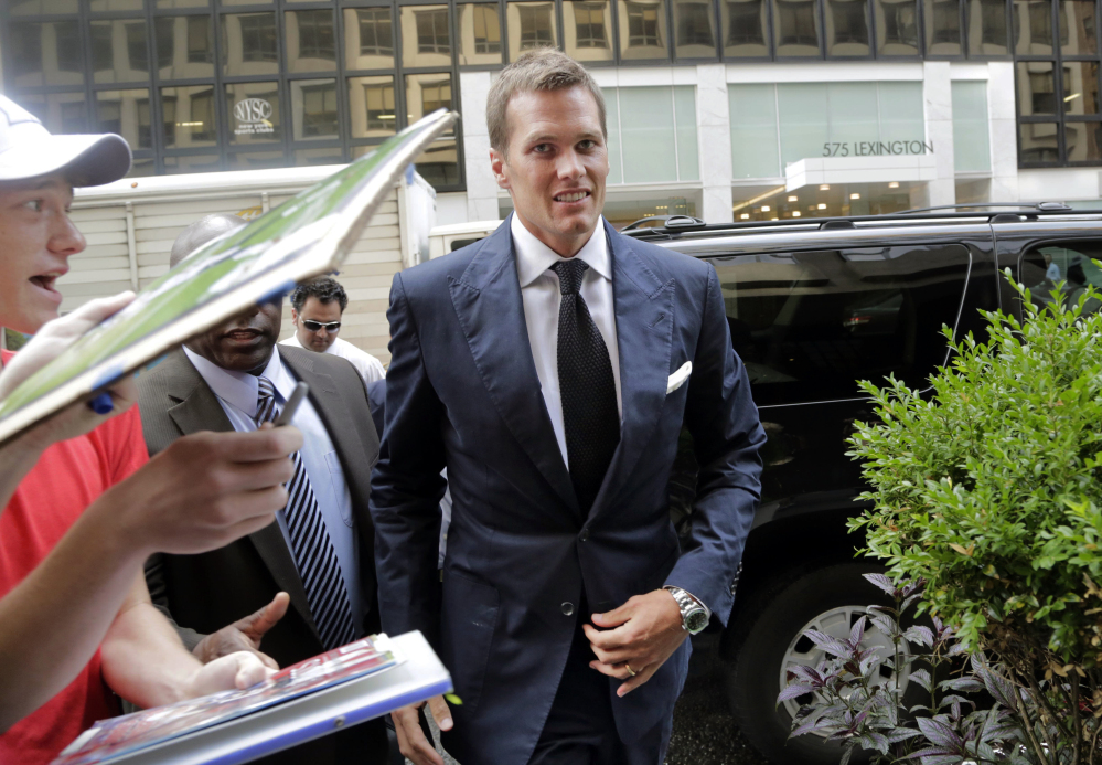 Tom Brady arrives for his appeal hearing at NFL headquarters in New York on June 23. The NFL Players Association released the 457-page transcript of his testimony Tuesday. In it, Brady denies tampering with footballs in the AFC championship game. The Associated Press