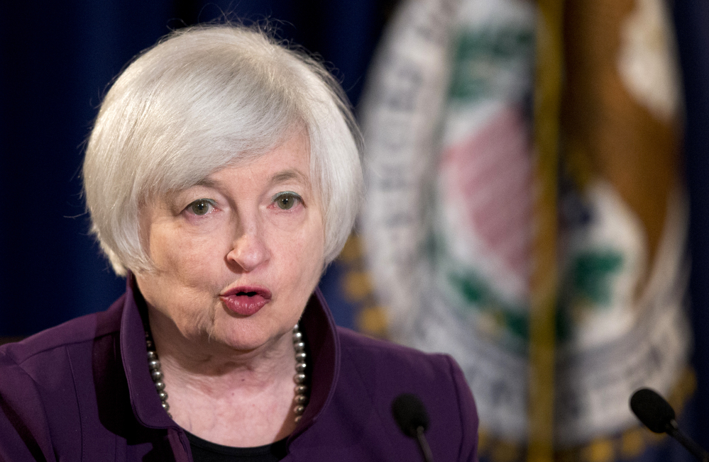 In this June 17, 2015 file photo, Federal Reserve Chair Janet Yellen speaks during a news conference following a Federal Open Market Committee meeting in Washington.