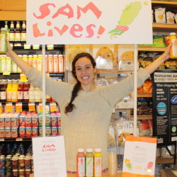 Samantha Levin of Scarborough introduces her Sam Lives! smoothie line at the Whole Foods Market in Portland on July 11. The Samantha of Fresh Samantha juice fame, Levin handed out samples during the launch. The store sold out of its stock of 500 bottles in two days.