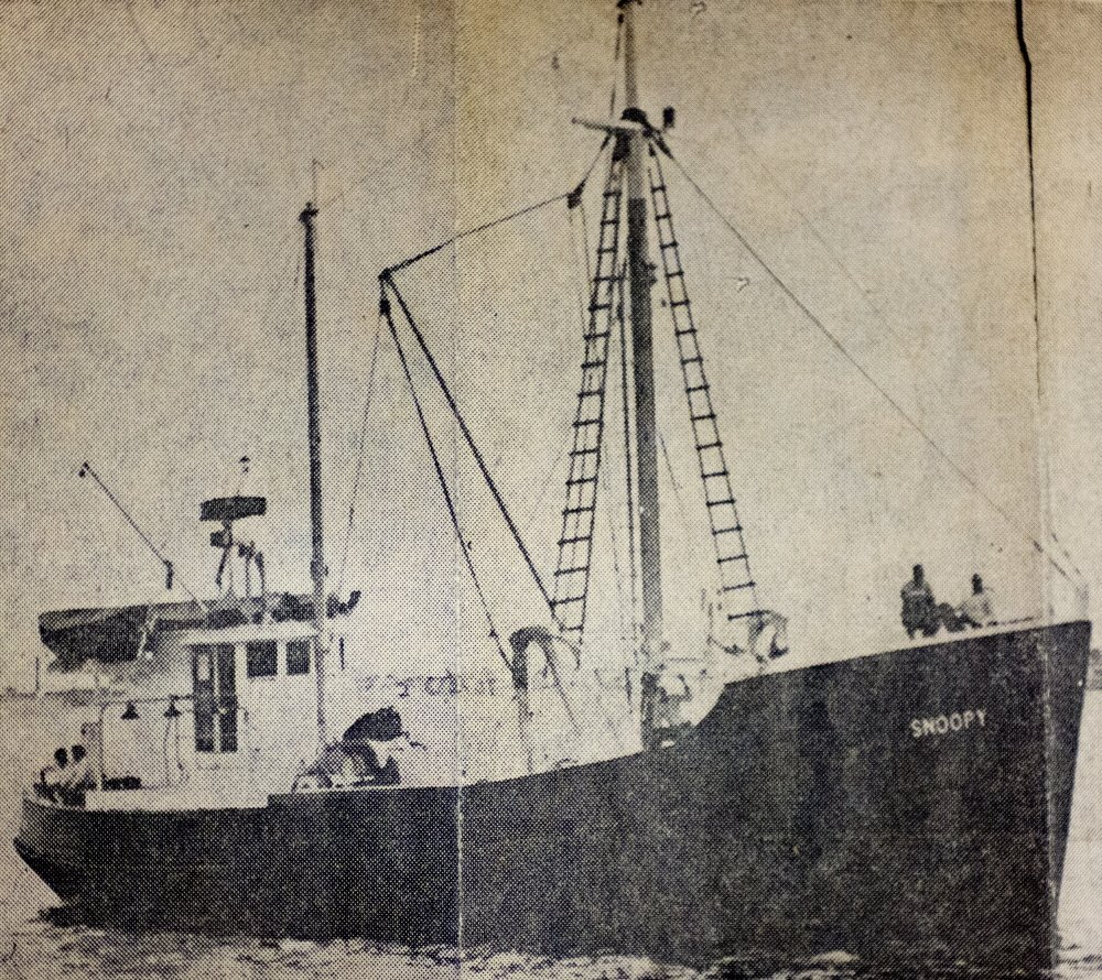 A newspaper clipping from 50 years ago show the scallop trawler Snoopy, which was fishing near North Carolina's Outer Banks when it was destroyed on July 23, 1965, killing eight men.