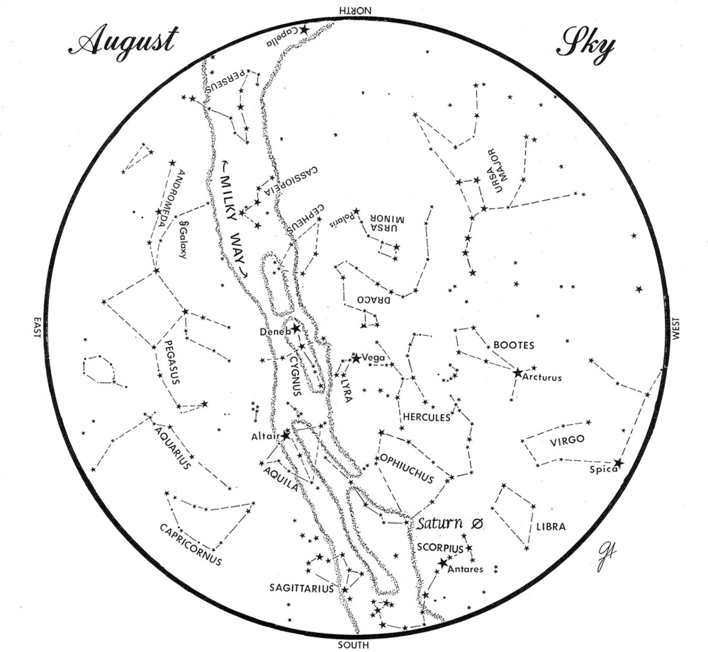 SKY GUIDE: This chart represents the sky as it appears over Maine during August. The stars are shown as they appear at 10:30 p.m. early in the month, at 9:30 p.m. at midmonth and at 8:30 p.m. at month's end. Saturn is shown in its midmonth position. To use the map, hold it vertically and turn it so the direction you are facing is at the bottom.