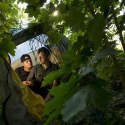 """Anthony Crame and Mickey Kline spend time last week in their tent off Valley Street in Portland. The couple hope to get an apartment before winter comes by qualifying for a Section 8 voucher. """"We want to live our lives like normal people,"""" Kline said."""