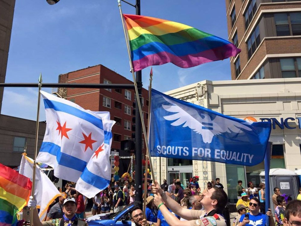 Chicago chapter members of Scouts for Equality demonstrate as Chicago's recent Pride Parade.
