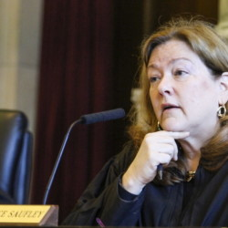 PORTLAND, ME - JULY 31: Chief Justice Leigh Saufley speaks Maine Supreme Judicial Court, Friday, July 31, 2015 during a hearing on the issue of LePage's attempt to veto 65 bills after lawmakers said they already became law. Photo by Joel Page/Staff Photographer)
