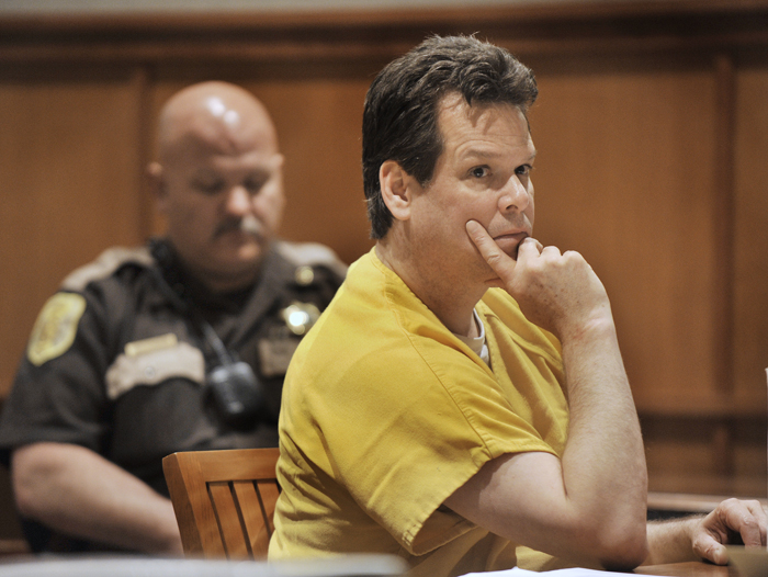 Dennis Dechaine, who was convicted of the 1988 murder of 12-year-old Sarah Cherry, was on trial in this June 12, 2012, photo for trafficking in contraband related to a prison suicide attempt.