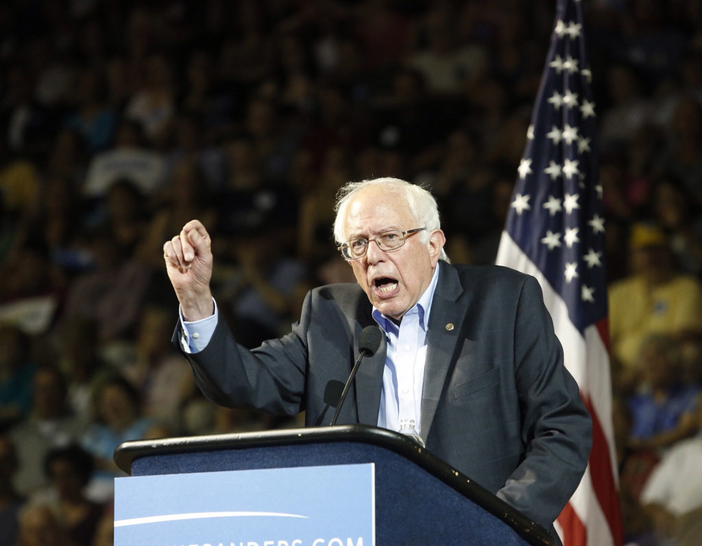 Sanders told the crowd in Portland that he would introduce legislation to make public colleges and universities tuition-free. Derek Davis/Staff Photographer