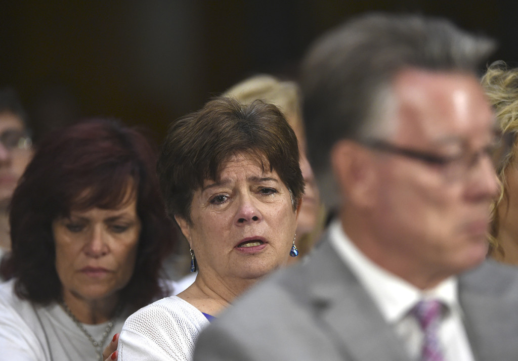 Liz Sullivan, mother of Kathryn Steinle, who was killed on a San Francisco pier, allegedly by a man previously deported several times, listens to testimony July 21 during a Senate Judiciary hearing to examine federal immigration enforcement policies.