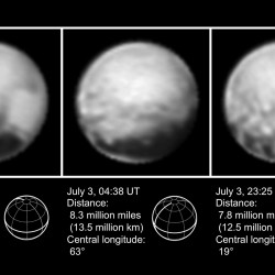 "This combination of images from July 1 to July 3, 2015, provided by NASA shows Pluto at different distances from the New Horizons spacecraft. NASA's New Horizons spacecraft is on track to sweep past Pluto next week despite hitting a ""speed bump"" that temporarily halted science collection. (NASA via Pluto)"