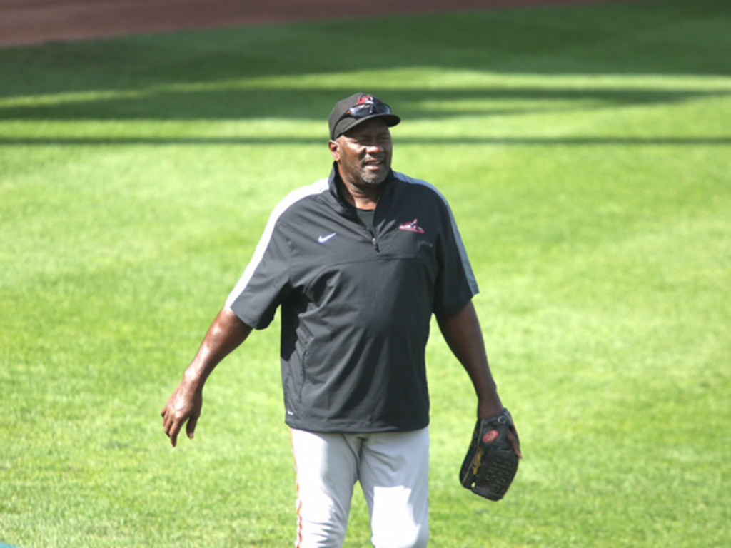 Former Boston Red Sox closer Lee Smith works Wednesday as the pitching coach for the Eastern League's Western Division All-Star team. Smith is  is third all-time on major league baseball's saves list.