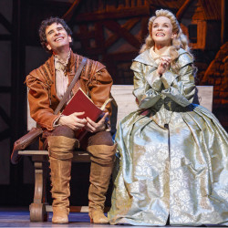 """John Cariani and Kate Reinders play the roles of lovers in """"Something Rotten!""""  Reinders says singing with Cariani is """"just fun and kind of wonderful."""""""