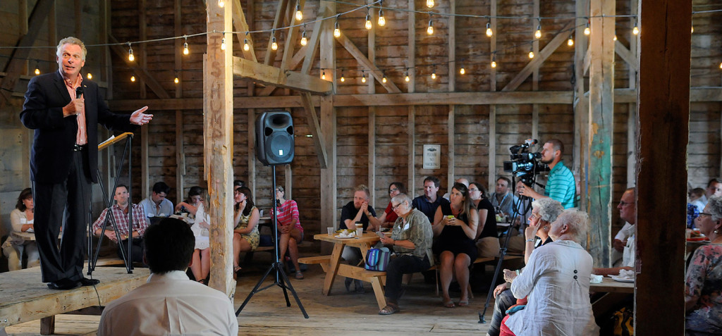 Virginia Gov. Terry McAuliffe addresses Democrats at the Muskie Lobster Bake in Freeport. Andy Molloy/Staff Photographer