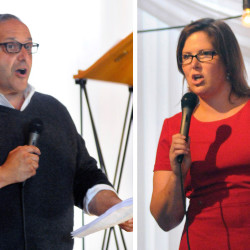 Democrats Joe Baldacci and Emily Cain spoke at the Muskie Lobster Bake in Freeport Sunday. Andy Molloy/Staff Photographer