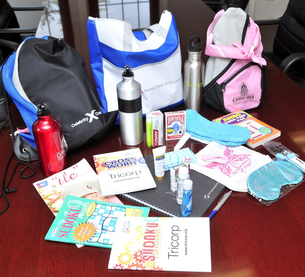 Comfort bags for patients undergoing cancer treatment at Capital Area Federal Credit Union in Augusta.