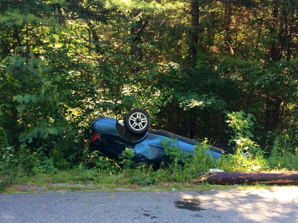 Police say Destiny Edgerly, of Concord, lost control of her car and rolled over, snapping a telephone pole.