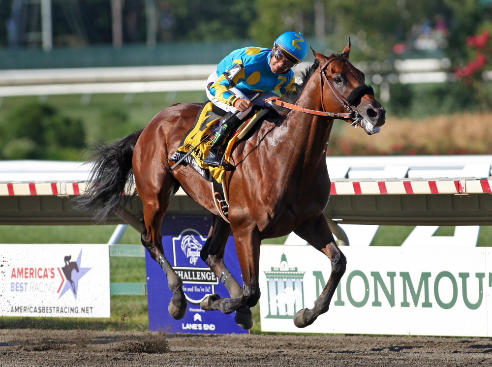 American Pharoah, with Victor Espinoza riding, won the $1,750,000 Grade 1 William Hill Haskell Invitational at Monmouth Park in Oceanport, New Jersey on Sunday.