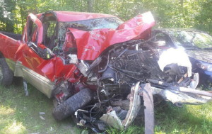 Maine State Police responded to this crash on Thundercastle Road in Readfield early Sunday morning in which a 47-year-old Readfield woman was reportedly racing her friend home from a bar.