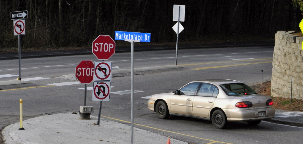Until this week, left turns were banned from Marketplace Drive onto Townsend Road, but because of nearby roadwork, drivers will now be allowed to turn left at the intersection.