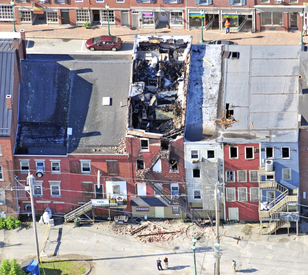This aerial photo shows the scene on July 17, the morning after the major fire in downtown Gardiner.