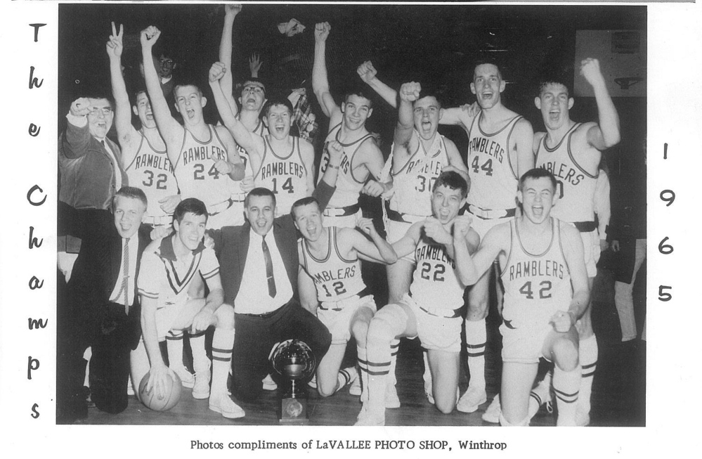 The 1965 Winthrop basketball team. In the first row, left to right, is manager Howard Cook, Denis Clark, coach Roy ChipmanKen PattenJeff DeBlois and Alan Pattershall. In the back row is manager Jessie Spinner, Jessie McDougall, Terry Wyman, Eddie Starbuck, Austin Farrar, Charlie Gordon, Norman Finley. Brad Macomber and George House.