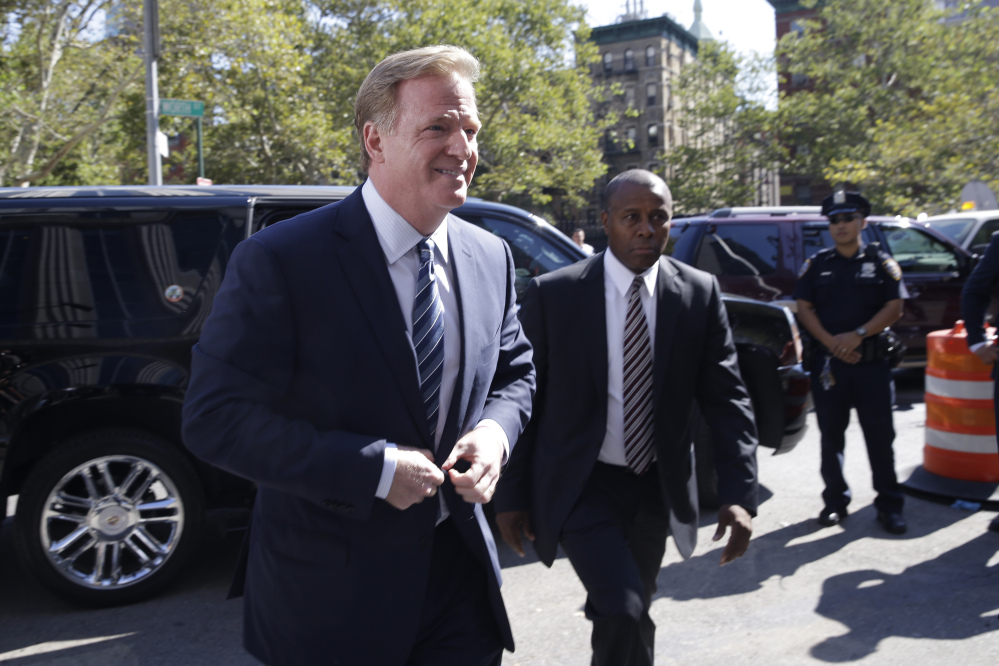 NFL Commissioner Roger Goodell arrives at Federal court Wednesday in New York.