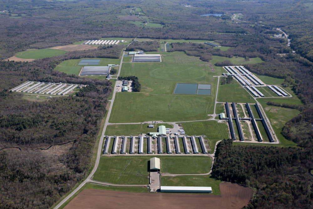 This May 14 aerial view shows Quality Egg Farm of New England, LLC in Turner. Quality Egg was formerly DeCoster Egg Farms.