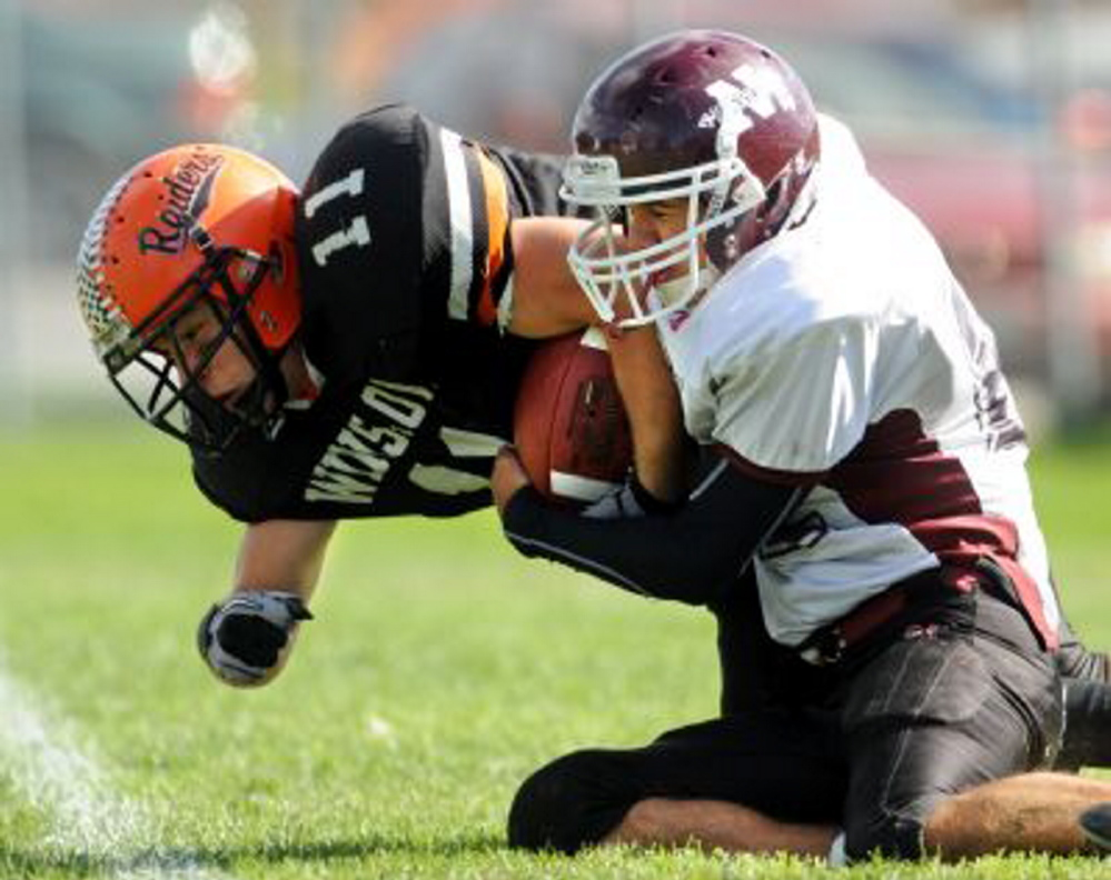 Former Winslow fullback John McCabe has slowly worked his way up the depth chart during his time with the University of Maine football team. McCabe, a senior linebacker, has been getting snaps with the Black Bears' first-team defense.