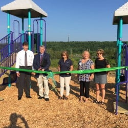 From left, are Chuck Hays, CEO MaineGeneral; Bill Tozier, president of Augusta Kiwanis; Kim Michaud, playground chairwoman; Jill Huard, Kennebec Valley Board of Realtors; and Lynn Oulette, representing Augusta Rotary Club.