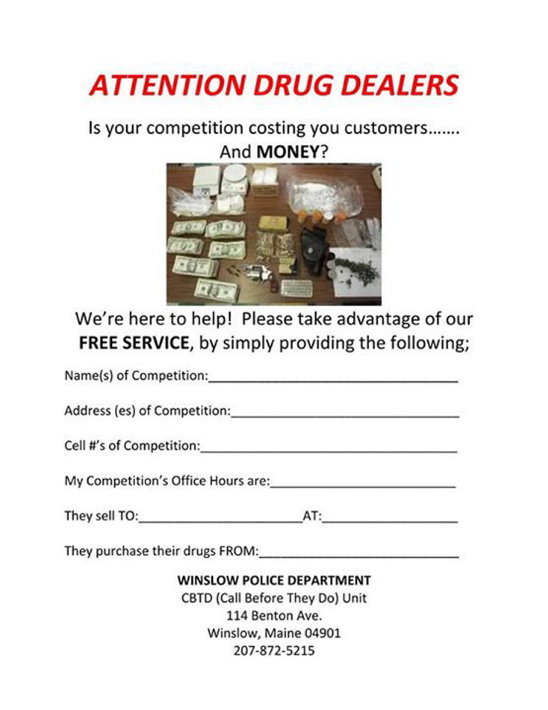 A copy of the flier posted to the Winslow Police Department Facebook page Monday afternoon.