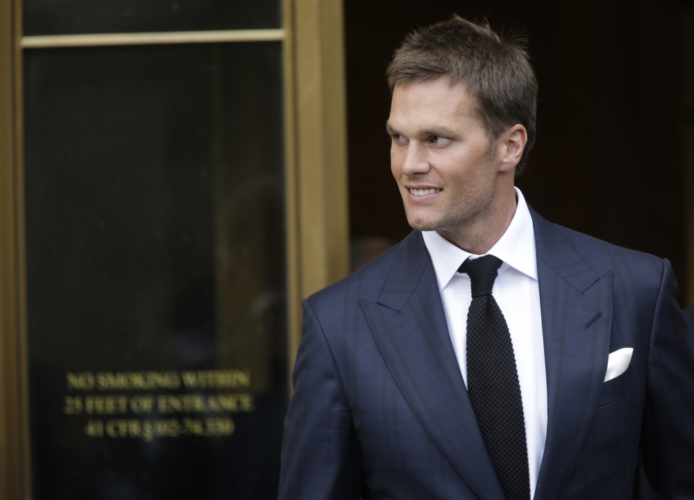 New England Patriots quarterback Tom Brady leaves federal court last week in New York. Brady and the NFL are at a stalemate in settlement talks over the Deflategate legal case.